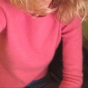 Fuzzy Pink 90's crew neck sweater